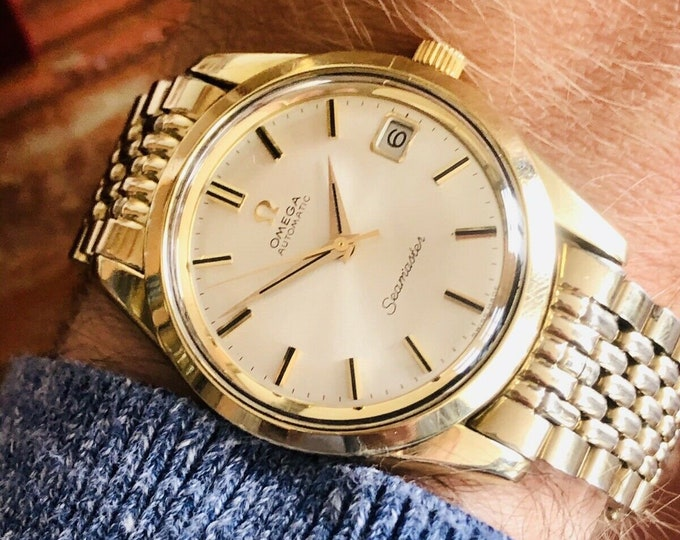 Omega Seamaster Beads Of Rice Bracelet Mens Vintage 1968 Automatic Gold on Steel watch dress watch + Box