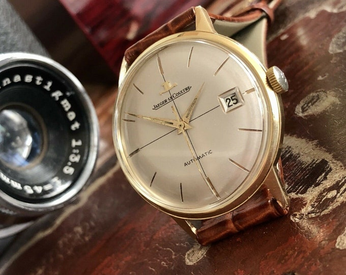 Jaeger Lecoultre JLC Mens Gold & Steel 1960 - 1969 Vintage Automatic Crosshair Dial Swiss made Serviced June 2020 watch