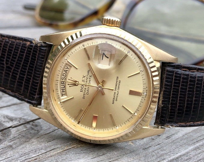 Rolex Ref 1803 President Day Date Mens 36mm 18K Yellow gold vintage 1969 Serial Number 203XXX watch + Box
