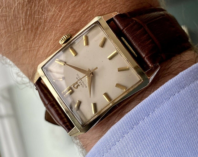 Omega Square Dial Solid 14K Yellow Gold Vintage Mens Automatic Caliber 471 1958 watch