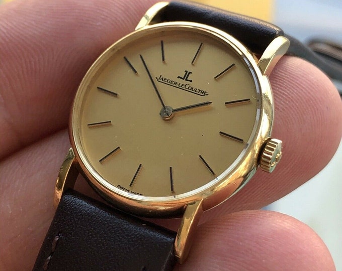 Jaeger Lecoultre JLC Solid 18K Yellow Gold Vintage Mechanical Hand Winding Lady watch