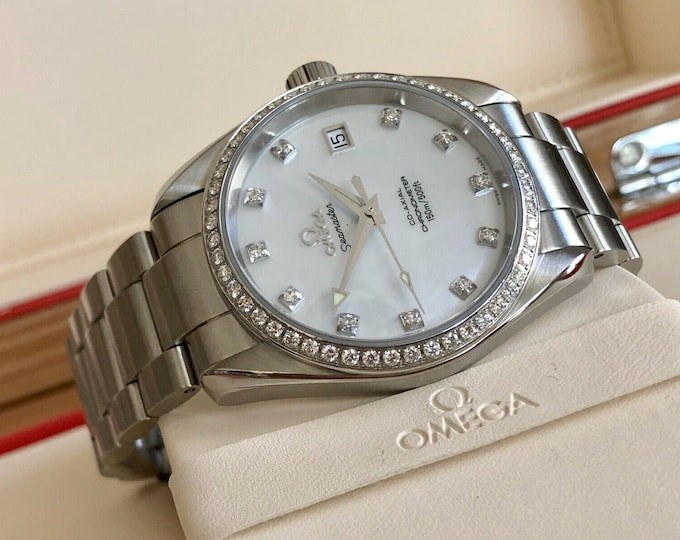 Omega Seamaster Aqua Terra Automatic 36mm Mens Unisex IF Round Brilliant Diamond Bezel & Dial watch