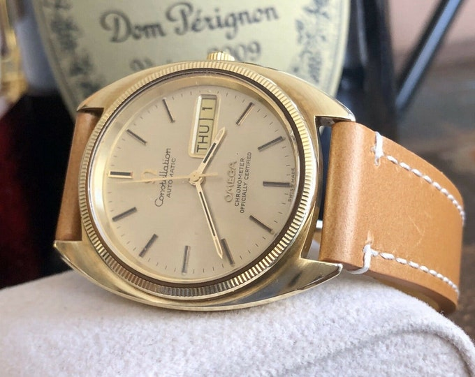 Omega Constellation Automatic Day Date vintage mens 1972 dress gold watch + Box