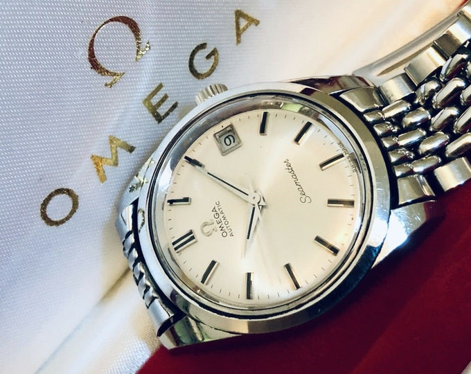 Omega Mens Seamaster Cal 565 Automatic Rice Omega rice bracelet nice condition vintage 1968 watch + Box