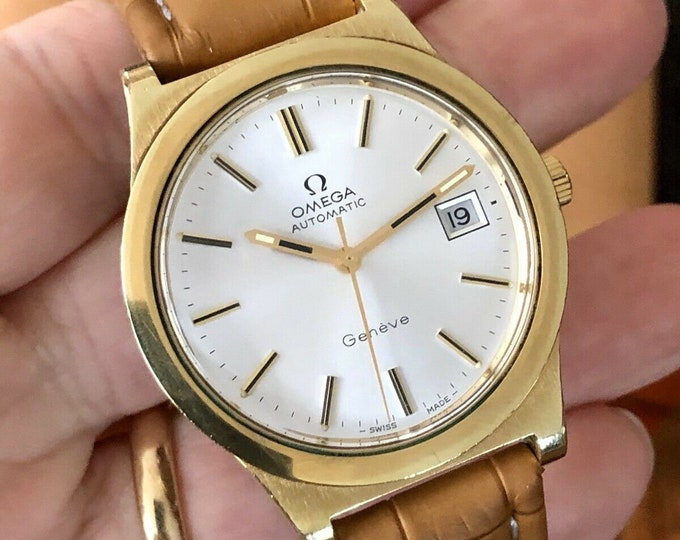 Omega Automatic Geneve second hand used Cal 1012 Mens Vintage 1973 watch + Box