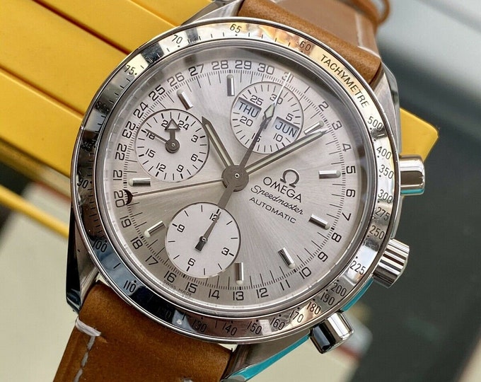 Omega Speedmaster Silver Triple date Dial Men's Date reduced 38mm Automatic Full Set 2000s Chronograph watch + Box
