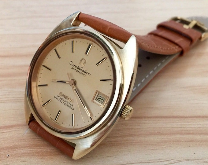 Omega vintage 1973 Gold Constellation Chronometer CAL 1011 Automatic Mens gents watch + Box