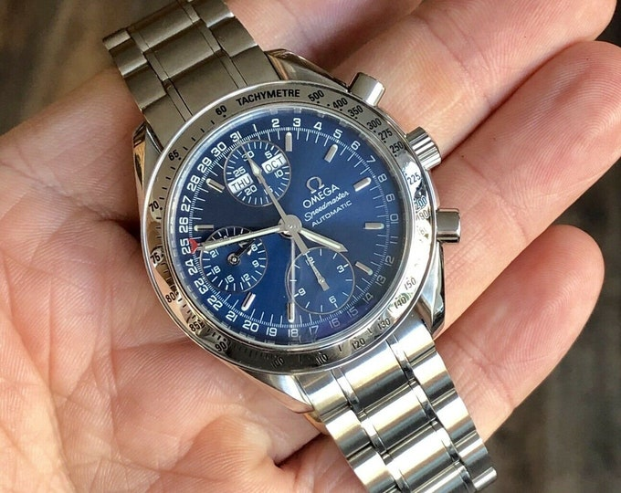Omega Speedmaster Ref 3523 1999 Navy Blue Triple date Dial Men's Automatic Cal 1151 watch + Box