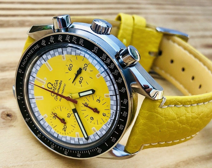 Omega Speedmaster Yellow Dial Men's chronograph reduced Automatic Michael Schumacher F1 Special edition 1996-2000 3810.12.40 watch + Box