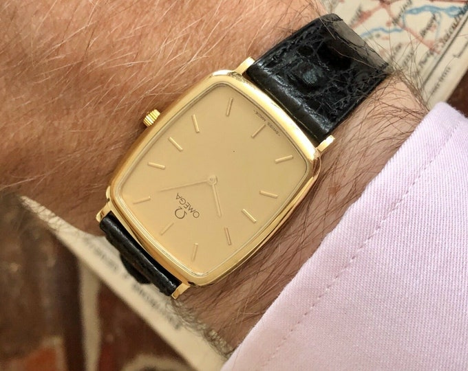 Omega vintage 1991 Mens Rectangular De Ville Gold Plated mens dress watch Box