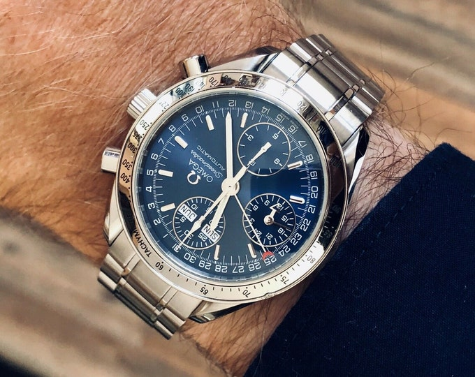 Omega Speedmaster Navy Blue Dial Men's Automatic Triple date watch + Box + Nato