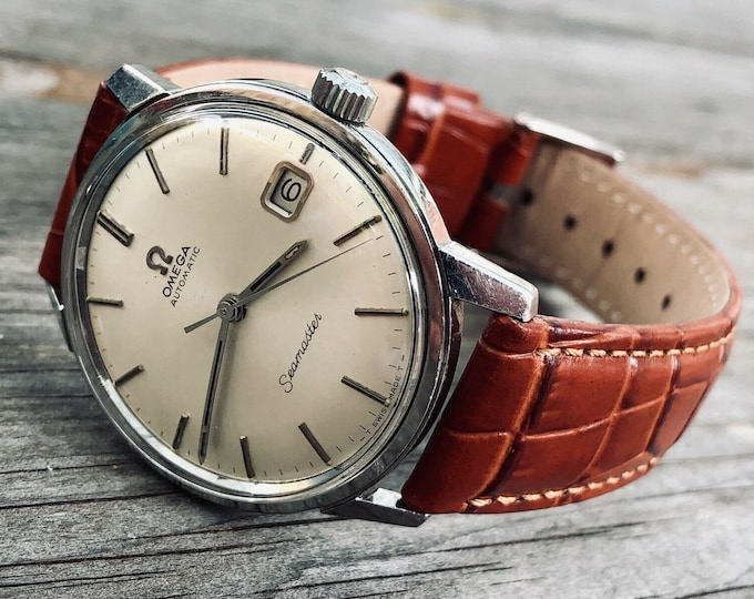 Omega Seamaster vintage watch Mechanical Automatic Cal 565 Stainless Steel Date bordeaux red leather strap 1960s used second hand + Box