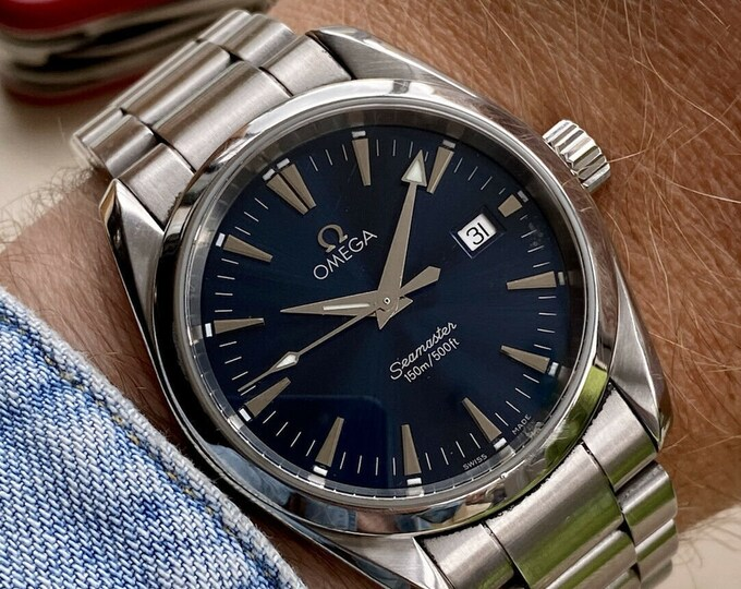 Omega Seamaster Aqua Terra Blue Dial Quartz Battery Mens papers Card watch Box