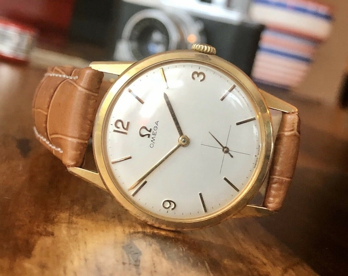 Omega 1963 Mechanical Gold & Steel Mens vintage sub seconds dial watch + New box