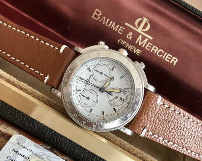 Baume & Mercier Mens Stainless Steel Chronograph Quartz Watch Leather MV04FO24 + Box + New Service card July 2020