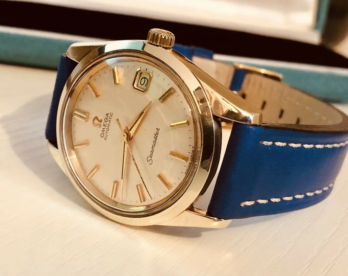 Omega Seamaster vintage watch cal 562 automatic 14K gold capped case 19966 Men's dress wristwatch + Original Box