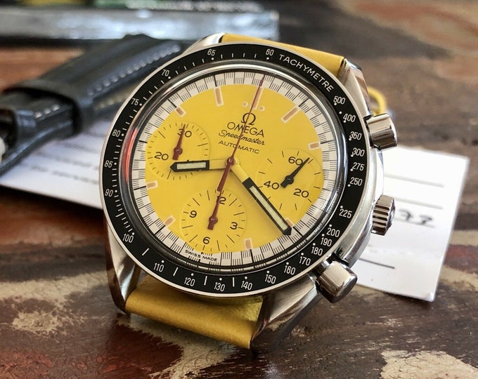 Omega Speedmaster Yellow Dial Men's chronograph reduced Automatic Stainless Steel Bracelet watch + Box