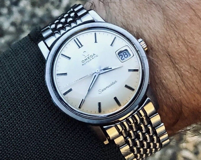 Omega Mens Seamaster Cal 565 Automatic Rice Omega rice bracelet nice condition vintage 1969 watch + Box