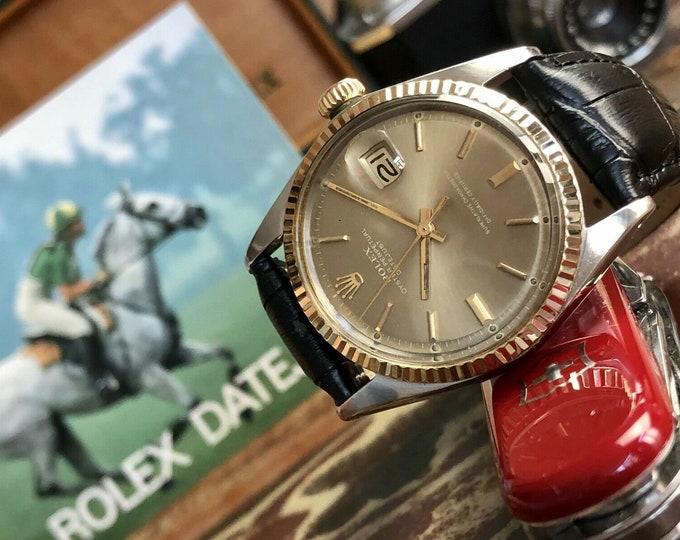 Rolex Datejust 1970 Ref 1601 Gold Fluted Bezel Mens Steel Automatic Vintage 36mm Watch + Box