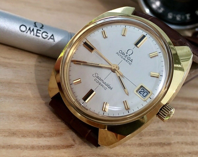 Omega Automatic Seamaster Cosmic 1960 - 1969 De Ville Mens Vintage Gold Crosshair Dial watch + Box