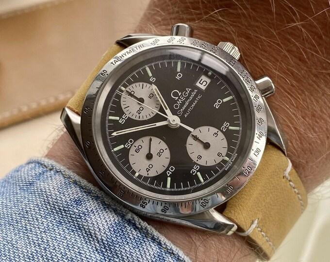 Omega Speedmaster Black Reverse Panda Dial Men's reduced Automatic 1990s chronograph watch serviced June 2021