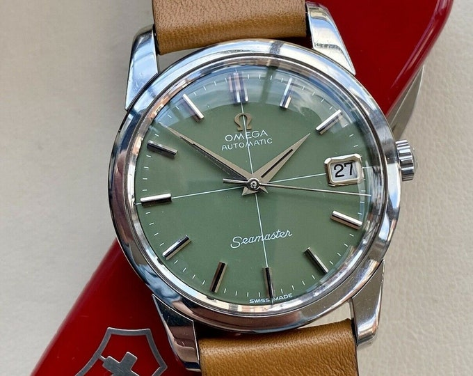 Omega Automatic Seamaster Olive Green Dial Steel Mens Vintage serviced May 2021 watch