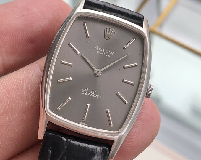 Rolex Cellini 18K White Gold Men's Unisex Womens Grey Dial Box Dress Swiss Watch + Box