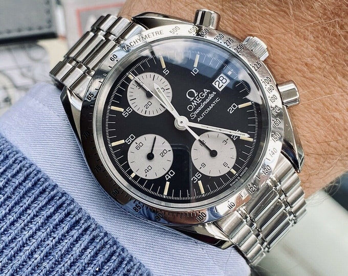 Omega Speedmaster Black Reverse Panda Dial Men's reduced Automatic 1995 Full Set Box papers card serviced December 2020 watch + Box