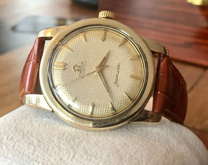 Omega Automatic Seamaster 1952 Mens Vintage Gold Waffle Dial watch + New Box