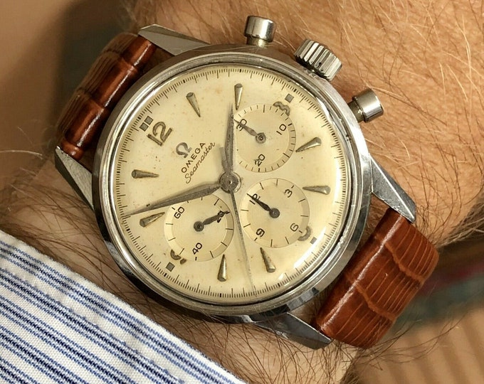 Omega Seamaster Steel Chronograph Mens Vintage Calibre 321 serviced 1959 used second hand Ref 14364-1 watch
