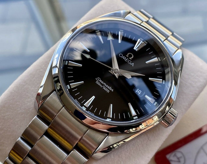 Omega Seamaster Aqua Terra Quartz Men's 150M Silver Dial 40mm mm Steel Bracelet Watch Full Set Papers