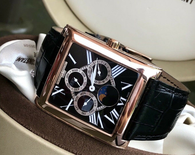 Frederique Constant FC-265X3C24/6 Persuasion Moonphase Mens Rose Pink gold watch Full Set Papers + Box