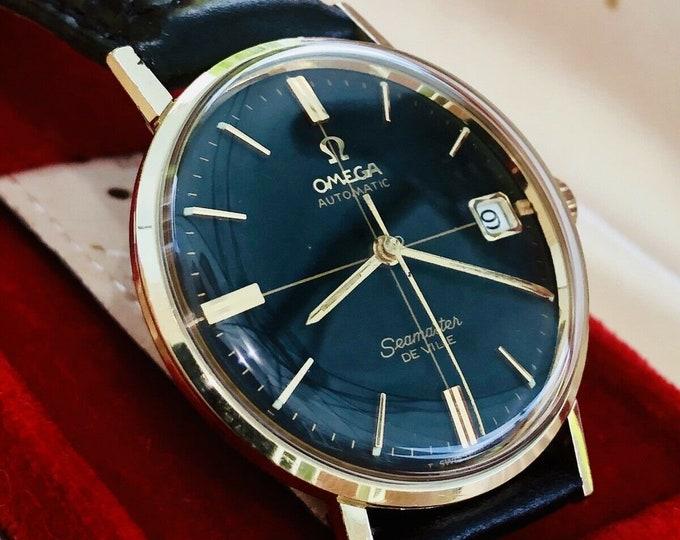 Omega Mens 14K Solid yellow gold Seamaster De Ville Mens Automatic 1960s Don Draper Black dial crosshair watch + Box
