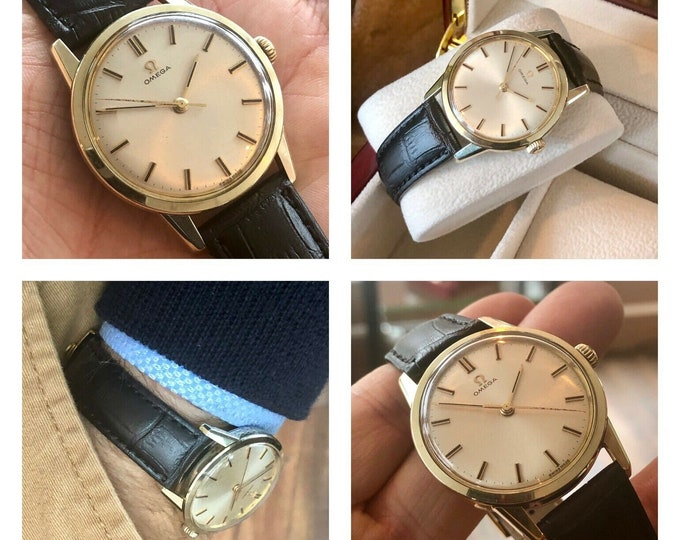 Omega 1961 Vintage Gold Steel Mens Mechanical Cal 285 Leather watch + New Box