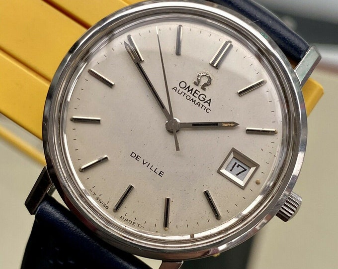 Omega Automatic De Ville Steel Mens Vintage Steel Navy leather 1970s watch + New Box