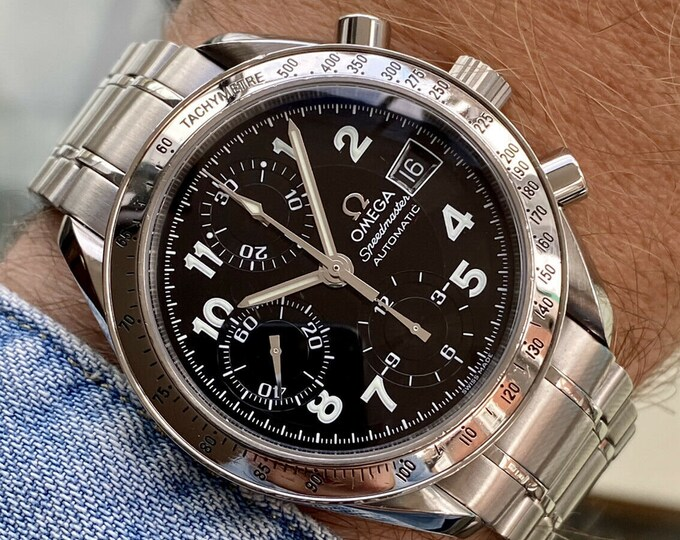 Omega Speedmaster Steel Limited Edition Japanese Model only Black Dial Mens 38mm Automatic box watch