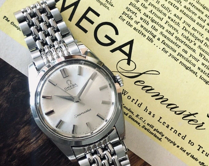 Omega Seamaster Vintage 1963 Rice Bracelet Automatic Steel Date Mens Calibre 552 serviced watch + Box