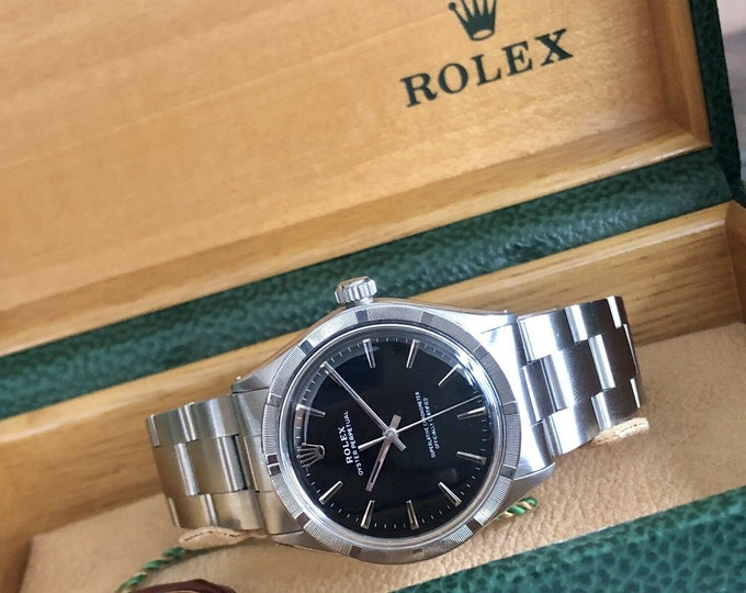 Rolex Vintage Oyster Perpetual 1960s Black Dial Face Steel Mens serviced July 2020 watch + Box