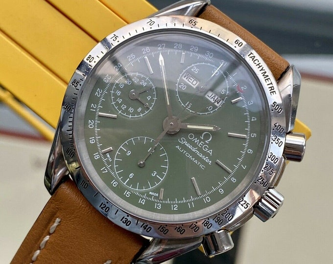 Omega Speedmaster 39mm Green Olive Dial Men's Automatic Caliber 1150 Triple date watch + Box