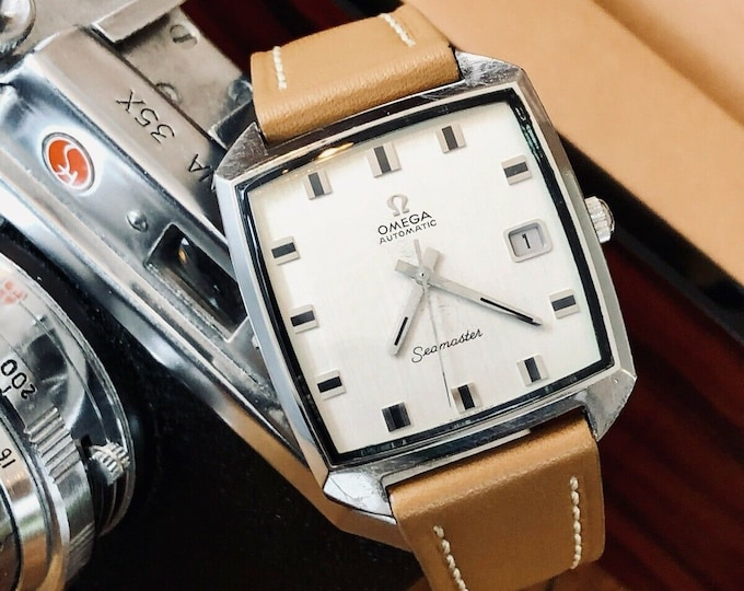 Omega Mens 1972 vintage Seamaster used Square Dial Automatic Calibre 565 Steel Date watch + New Box