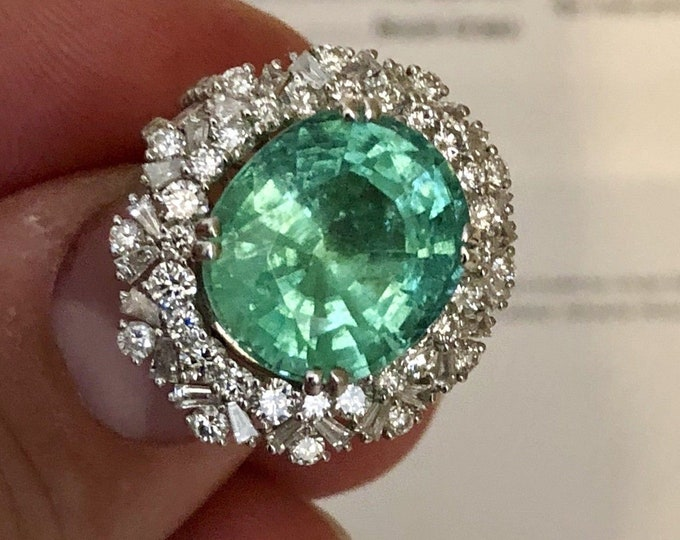 10.02ct Paraiba Tourmaline & G Colour Diamonds 3.00ct Ring GIA certified 18K solid white gold