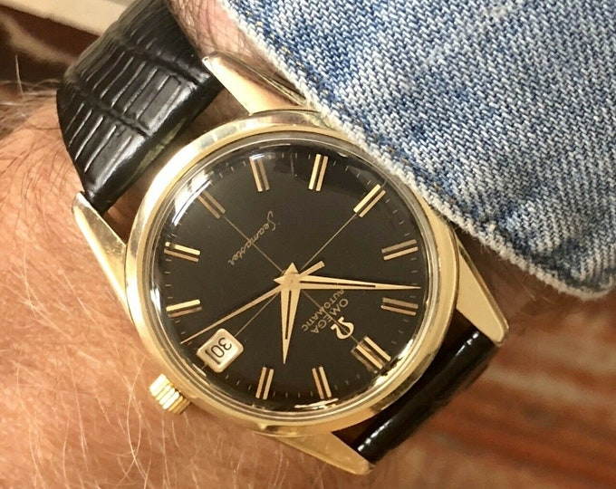 Omega Vintage Gold Steel 1962 Serviced Automatic 34mm Black Dial Mens watch