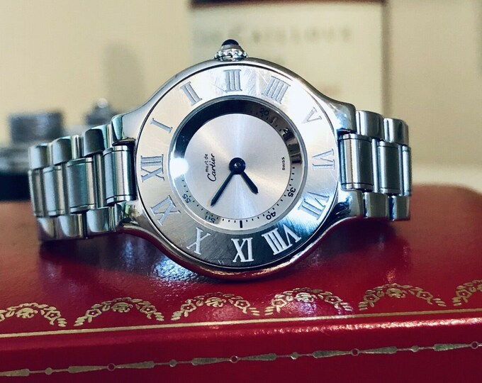 Cartier Must De Cartier 21 lady womes stainless steel bracelet 27mm quartz battery watch + Box
