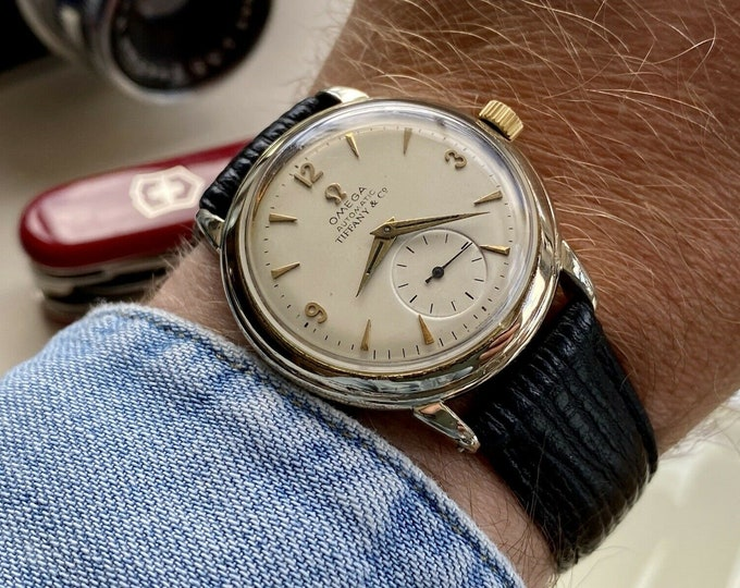 Omega vintage Tiffany & Co. Gold Plated mens 1950 Automatic Bumper Caliber 342 watch