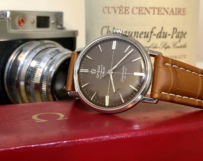 OMEGA Seamaster De Ville Mens vintage watch crosshair Turler Brown Dial + Box 1960s used second hand + Omega Red retro Box