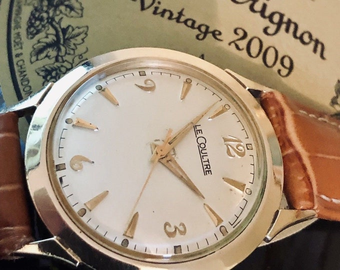 Jaeger Le-Coluture Vintage Mens 1950 to 1959 Mechanical 10K Gold Filled Watch + Box