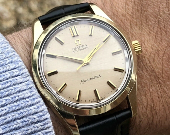 Omega Seamaster vintage watch cal 552 automatic 14K gold capped case 1960 to 1969 Men's dress wristwatch + Original Box