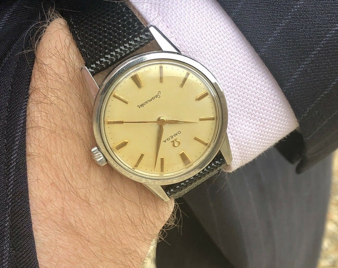 Omega Seamaster vintage 35mm Stainless Steel watch Mechanical Cal 285 Stainless Steel with Date and bracelet 1960s used second hand + Box