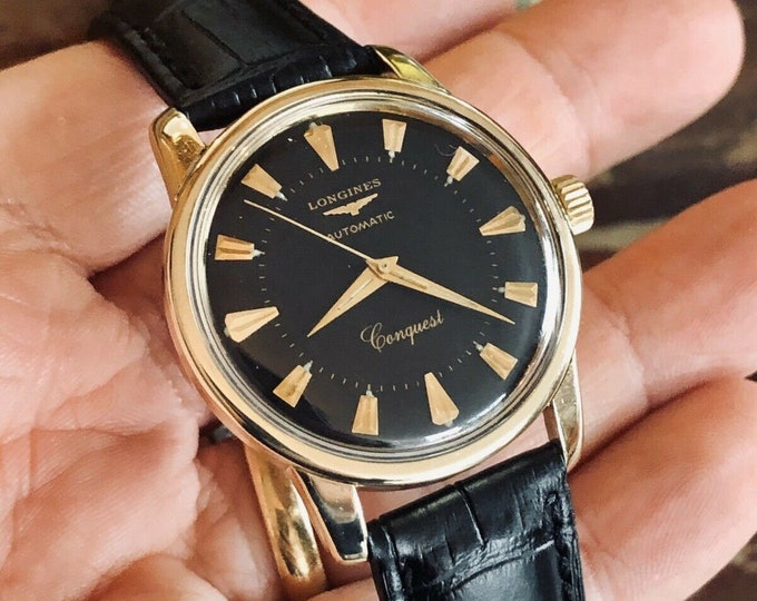 Longines Conquest used automatic gold plated black dial face 1960s watch + Box
