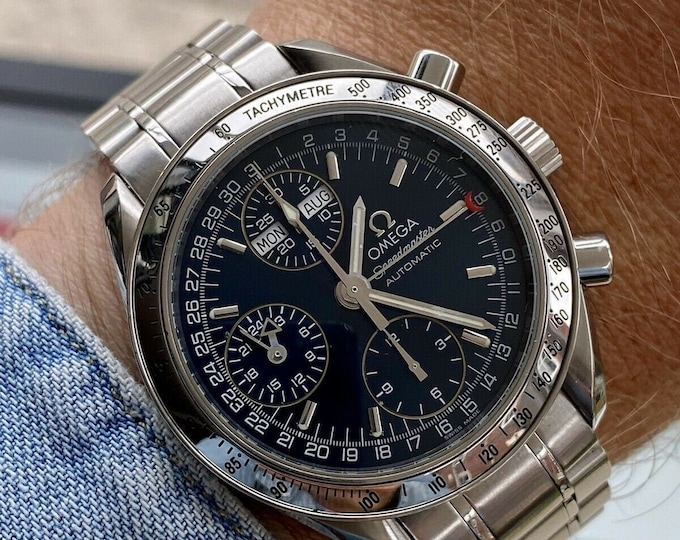 Omega Speedmaster Reduced 39mm Navy Blue Face Dial Men's Automatic Caliber 1151 Triple date watch + Box